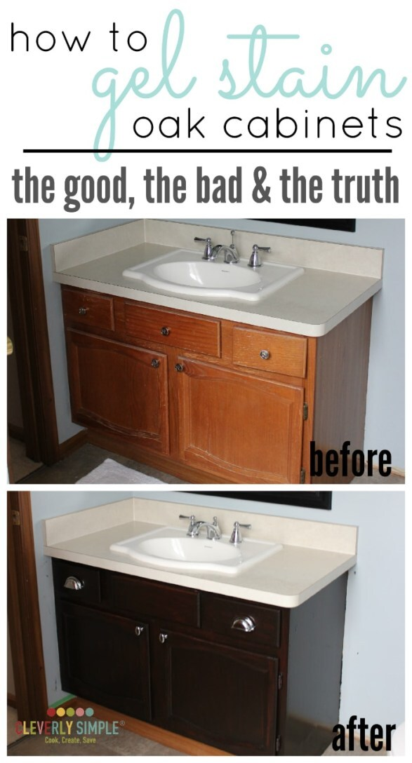 good-looking staining oak cabinets before and after