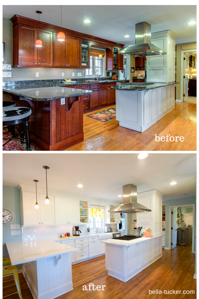lovable painting oak kitchen cabinets white before and ...