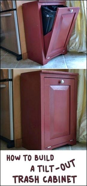 interesting wood tilt out trash or recycling cabinet